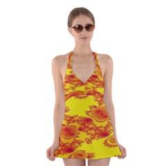 Floral Fractal Pattern Halter Swimsuit Dress