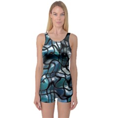 Old Spiderwebs On An Abstract Glass One Piece Boyleg Swimsuit