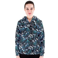 Old Spiderwebs On An Abstract Glass Women s Zipper Hoodie