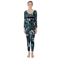 Old Spiderwebs On An Abstract Glass Long Sleeve Catsuit