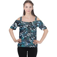 Old Spiderwebs On An Abstract Glass Women s Cutout Shoulder Tee