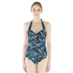 Old Spiderwebs On An Abstract Glass Halter Swimsuit