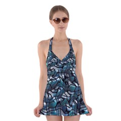 Old Spiderwebs On An Abstract Glass Halter Swimsuit Dress