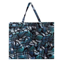 Old Spiderwebs On An Abstract Glass Zipper Large Tote Bag