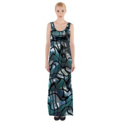 Old Spiderwebs On An Abstract Glass Maxi Thigh Split Dress