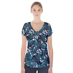 Old Spiderwebs On An Abstract Glass Short Sleeve Front Detail Top
