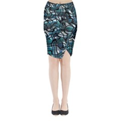 Old Spiderwebs On An Abstract Glass Midi Wrap Pencil Skirt
