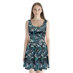 Old Spiderwebs On An Abstract Glass Split Back Mini Dress