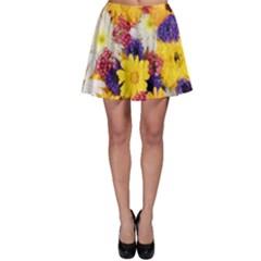 Colorful Flowers Pattern Skater Skirt