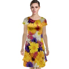 Colorful Flowers Pattern Cap Sleeve Nightdress
