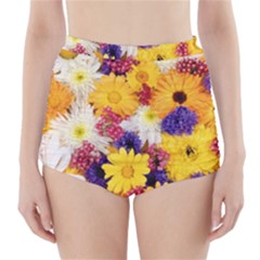 Colorful Flowers Pattern High-Waisted Bikini Bottoms