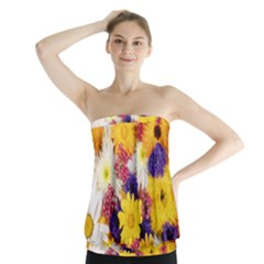 Colorful Flowers Pattern Strapless Top