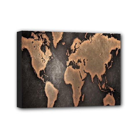 Grunge Map Of Earth Mini Canvas 7  x 5