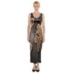Grunge Map Of Earth Fitted Maxi Dress