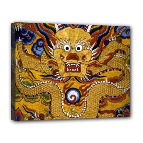 Chinese Dragon Pattern Canvas 14  x 11