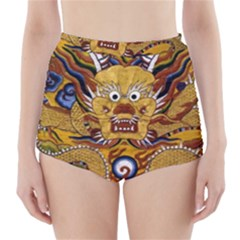 Chinese Dragon Pattern High-Waisted Bikini Bottoms