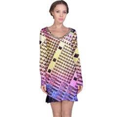 Optics Electronics Machine Technology Circuit Electronic Computer Technics Detail Psychedelic Abstract Long Sleeve Nightdress