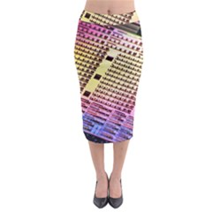 Optics Electronics Machine Technology Circuit Electronic Computer Technics Detail Psychedelic Abstract Midi Pencil Skirt