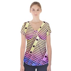 Optics Electronics Machine Technology Circuit Electronic Computer Technics Detail Psychedelic Abstract Short Sleeve Front Detail Top
