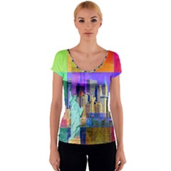 New York City The Statue Of Liberty Women s V-Neck Cap Sleeve Top