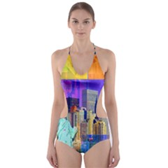 New York City The Statue Of Liberty Cut-Out One Piece Swimsuit