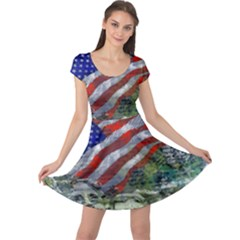 Usa United States Of America Images Independence Day Cap Sleeve Dresses