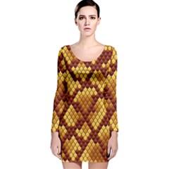 Snake Skin Pattern Vector Long Sleeve Velvet Bodycon Dress
