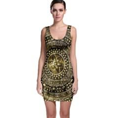 Gold Roman Shield Costume Sleeveless Bodycon Dress