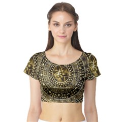 Gold Roman Shield Costume Short Sleeve Crop Top (Tight Fit)