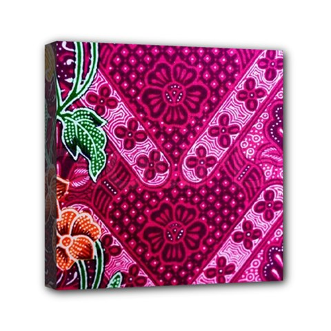 Pink Batik Cloth Fabric Mini Canvas 6  x 6