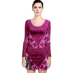Pink Batik Cloth Fabric Long Sleeve Bodycon Dress