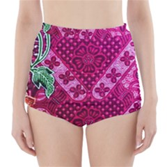 Pink Batik Cloth Fabric High-Waisted Bikini Bottoms