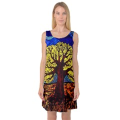 Tree Of Life Sleeveless Satin Nightdress