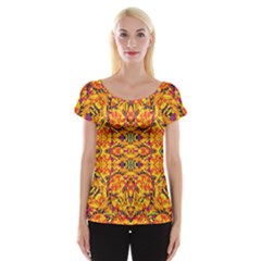 Colorful Vibrant Ornate Women s Cap Sleeve Top