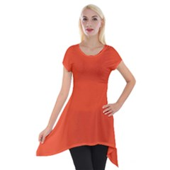 Trendy Basics   Trend Color Flame Short Sleeve Side Drop Tunic
