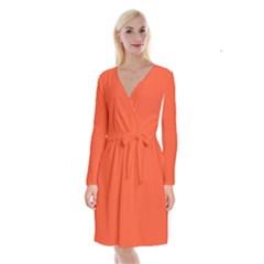 Trendy Basics   Trend Color Flame Long Sleeve Velvet Front Wrap Dress