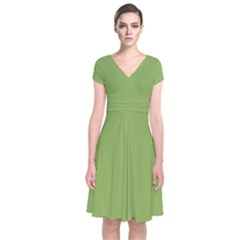 Trendy Basics   Trend Color Greenery Short Sleeve Front Wrap Dress