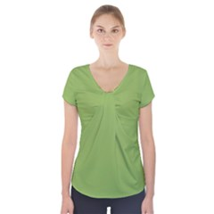 Trendy Basics   Trend Color Greenery Short Sleeve Front Detail Top