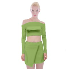 Trendy Basics   Trend Color Greenery Off Shoulder Top With Skirt Set