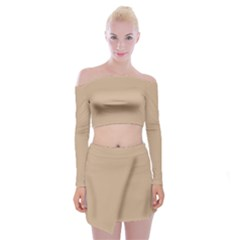 Trendy Basics   Trend Color Hazelnut Off Shoulder Top With Skirt Set