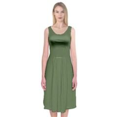 Trendy Basics   Trend Color Kale Midi Sleeveless Dress
