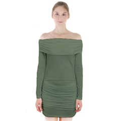 Trendy Basics   Trend Color Kale Long Sleeve Off Shoulder Dress