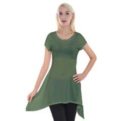 Trendy Basics   Trend Color Kale Short Sleeve Side Drop Tunic