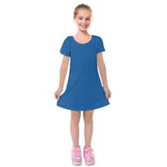 Trendy Basics   Trend Color Lapis Blue Kids  Short Sleeve Velvet Dress