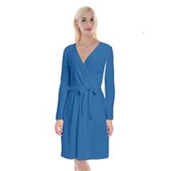 Trendy Basics   Trend Color Lapis Blue Long Sleeve Velvet Front Wrap Dress