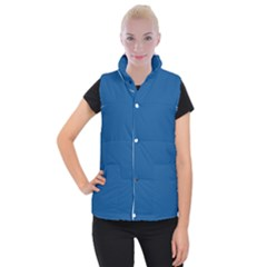 Trendy Basics   Trend Color Lapis Blue Women s Button Up Puffer Vest