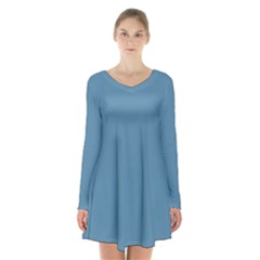 Trendy Basics   Trend Color Niagara Long Sleeve Velvet V Neck Dress