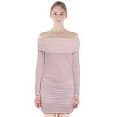 Trendy Basics   Trend Color Pale Dogwood Long Sleeve Off Shoulder Dress