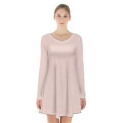 Trendy Basics   Trend Color Pale Dogwood Long Sleeve Velvet V Neck Dress