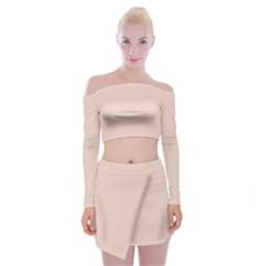 Trendy Basics   Trend Color Pale Dogwood Off Shoulder Top With Skirt Set